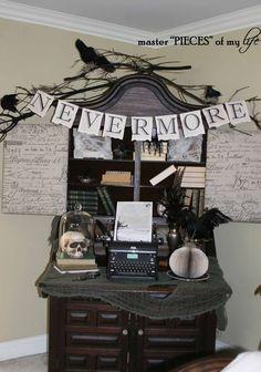 nevermore vignette for halloween edgar allen poe the raven - Raven Halloween Decorations