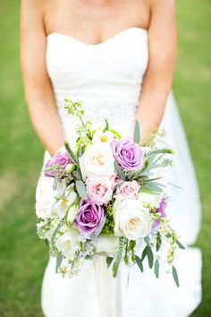 Lavender & Cream Bouquet|Lovely Lavender Southern Wedding on a Private Plantation|Photographer: Magnolia Photography