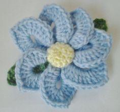 Crocheted Brooch/Corsage/Pin Light Blue Flower Motif by daddydan, +3.95