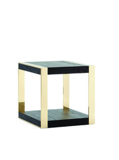 ARMANI CASA Esagono high-sheen black side tables, price upon request; available at Armani Casa