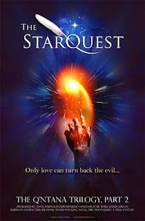 The working poster for The StarQuest, the second feature film in The Q'ntana Trilogy. This poster, like the others for the Q'ntana films, was designed by Richard Crookes. The same design was used for The StarQuest book. http://www.markdavidgerson.com/books/starquest