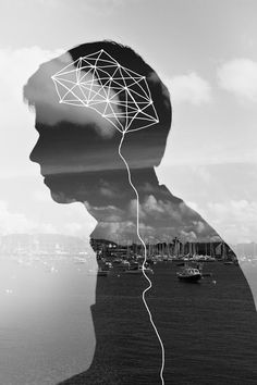 Double Exposure Portrait. I was attracted to this piece because of 2 main elements. The first element it the use of double exposure with the silhouette and the landscape. The second element is the doodle of the brain and what looks like it's meant to  be the spinal cord.