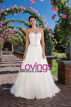 2016 A Line Sweetheart Wedding Dresses With Applique And Ruffles Organza US$…
