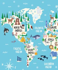 World map with ocean animals google search classroom science animal world map print kids world map poster nursery world gumiabroncs Image collections