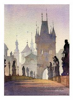 Charles Bridge - Prague by Thomas Schaller Art Aquarelle, Watercolor City, Watercolor Sketch, Watercolor Landscape, Landscape Paintings, Watercolor Paintings, Watercolors, Painting Abstract, Acrylic Paintings