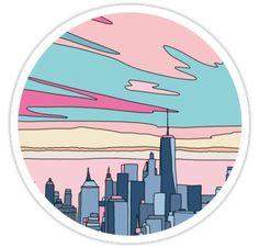 Bubble stickers - City sunset by Elebea Sticker – Bubble stickers Preppy Stickers, Cute Laptop Stickers, Bubble Stickers, Cool Stickers, Printable Stickers, Posca Marker, Homemade Stickers, Retro Wallpaper, Journal Stickers