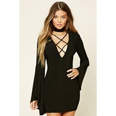 Lace-Up Bodycon Dress ($20) via Polyvore featuring dresses, bodycon mini dress, long-sleeve mini dress, short bodycon dresses, lace up dress and long dresses