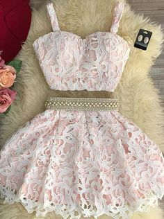 Sexy Two Piece Sweetheart Mini Pink Lace Homecoming Dress with Pearls