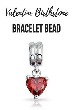 Beautiful Valentine's Day Birthstone Bracelet Bead. #valentine #valentinesday #valentines #valentinesdaygift #valentinegift #valentinesgift #valentinesdaygiftideas  #bracelet #braceletbead #braceletcharm #birthstone #giftideasforher
