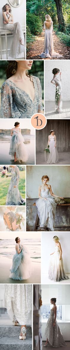 REASONS TO FALL IN LOVE WITH SILVER & GREY WEDDING DRESSES We LOVE grey and silver wedding dresses! These stunners make embracing the coloured wedding dress trend easy, and super chic. Grey is sophisticated and feminine, but still gives you that standout look. Often more flattering on a paler complexion that the traditional white or ivory, grey wedding dresses give a look that is timeless, yet contemporary.
