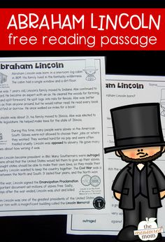 This free reading passage about Abraham Lincoln is great for kids in 2nd and 3rd grade. I love that it's leveled so you know which students to use it with! The comprehension questions are free too. #teachingreading #readingcomprehension