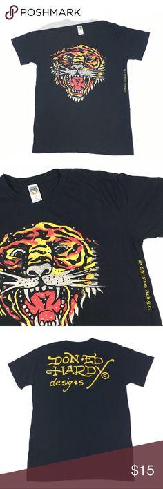 """Ed Hardy Christian Audigier Lion Rhinestone Shirt Unisex Size Medium Pit: 20"""" Sleeve: 7' Full Length: 28"""" Ed Hardy Tops Tees - Short Sleeve"""