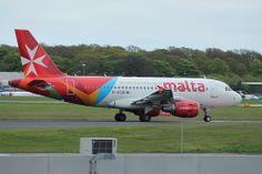 Air Malta Airbus A319-112 taxiing at Newcastle Airport