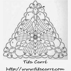Ideas For Crochet Lace Triangle Motif Crochet Bunting, Crochet Motifs, Crochet Chart, Thread Crochet, Crochet Doilies, Crochet Lace, Crochet Stitches, Crochet Patterns, Crochet Triangle