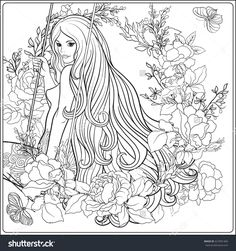 Young Beautiful Girl With Long Hair On Swing In Rose Garden Stock Line Vector Illustration Outline Hand Drawing Coloring Page For Adult Book
