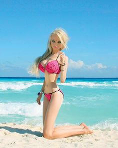 Valeria Lukyanova, the Human Barbie Doll. So strange to even want to *look* like Barbie. She had to have had a few ribs removed surgically.