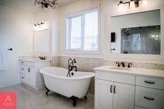 Copyright Astoria Custom Homes Ltd. Custom Home Builders, Custom Homes, Double Sinks, White Bathrooms, Clawfoot Bathtub, Luxury Homes, Home Improvement, Luxurious Homes, Luxury Houses