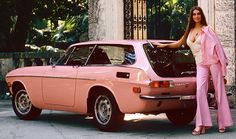1973 Playboy Playmate of the Year Marilyn Cole and her pink Volvo 1800ES