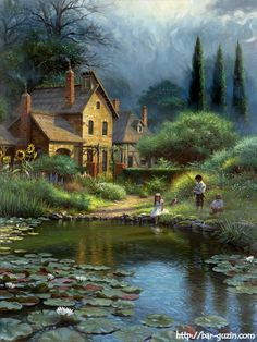 Charming vintage fishing by the lily pond landscape cross stitch pattern. This chart uses 75 DMC colors and the finished size is 140 x 190 stitches, which is approximately - Landscape Art, Landscape Paintings, Kinkade Paintings, Ship Paintings, Lily Pond, Thomas Kinkade, Fine Art, Pictures To Paint, Beautiful Paintings