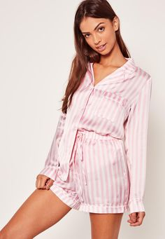 MISSGUIDED-- Nail nightime chic with this pink striped pajama set - featuring satin finish for the ultimate silky style.