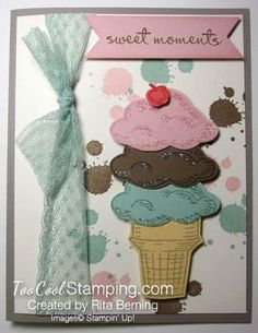 Sprinkles of Life Ice Cream Cone Card by Rita Berning.  gorgeous grunge, remember this, Stampin' Up, cards. #toocoolstamping