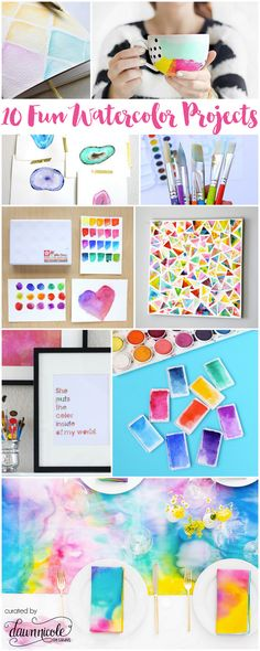 10 Fun Watercolor Projects | curated by Dawn Nicole Designs at bydawnnicole.com°°