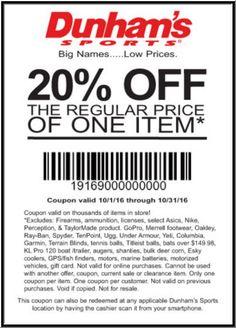 photo about Dunhams Coupons Printable called Dunhams Sports activities Discount coupons: 20% Off Promo Codes