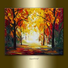 Original Textured Palette Knife Landscape Painting Oil on Canvas Contemporary Modern Tree Art 8X10 Autumn by Willson Lau