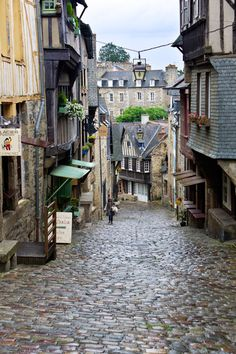 Hilly street after the rain - Dinan, Bretagne France
