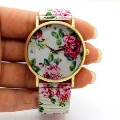 Cute Lovely Round Analog Stretchable Iron Quartz Wrist Watch Girl Women