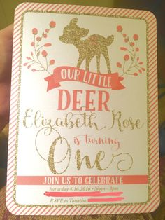First Birthday Party Invitation. Baby girl deer theme. Coral and Gold