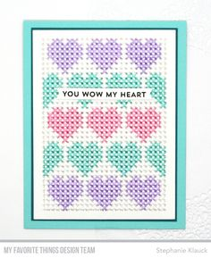 Stamps: From the Heart Die-namics: Cross-Stitched Rectangle, Hearts in a Row - Vertical Stephanie Klauck #mftstamps