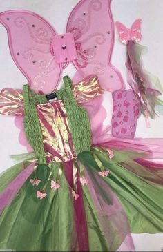 """Butterfly Fairy"" Costume 4 Piece Size 3-4T  Dress Wings Wand Tights  #ChildrensPlace #CompleteCostume"