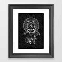 Indian Native OwL Dream Catcher FRAMED ART PRINT #framedartprint #artprint #artdesign #digitalart #digital #painting #drawing #inkpen #coloredpencil #pattern #black #white #popart #owl #indianchief #birds #indian #native #nativeamerican #mexicanart #dreamcatcher #tattoo