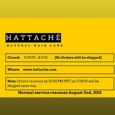 Visit us at www.hattache.com   A one stop shop for natural and organic hair/beauty products