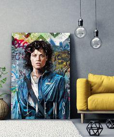 tableau-pop-art-aliens-ellen-ripley-sigourney-weaver-04 Aliens, Ellen Ripley, Tableau Pop Art, Sigourney Weaver, Painting, Impressionism, Canvas, Painting Art, Paintings
