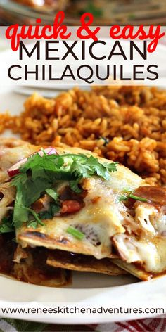 Chilaquiles are made with corn tortilla chips baked in a spicy salsa sauce. This easy Mexican casserole recipe also includes chicken and Monterey Jack cheese. Delicious for dinner, lunch, or even breakfast. Chilaquiles Recipe Tortilla Chips, Easy Mexican Casserole, Casserole Recipes, Cooked Chicken, How To Cook Chicken, Mexican Dishes, Mexican Food Recipes, Easy Chips, Cinco De Mayo