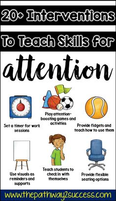 Over 20 interventions, strategies, and supports to help teach attention skills to kids and young adults. Being able to focus Classroom Behavior, Special Education Classroom, Classroom Management, Behavior Management, Kids Education, Social Emotional Learning, Social Skills, Social Work, Study Skills