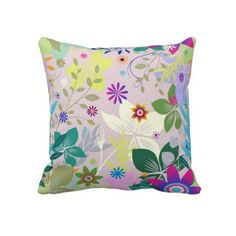 Floral Deco Throw Pillow by elenaind