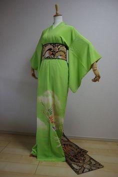 Kimono Dress Japan kimono costume gown Vintage fabric Bonus obi set KDJM-A0325