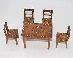 alter Tisch und Stühle, Bauernmöbel Bauerstube Puppenstube ca. 1920/30  #C549