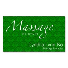 Massage Text on Green Damask Business Cards | Sold on #Zazzle | #BusinessCard #Massage http://zazzle.com/terrybain*