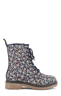 Deb Shops Lace Up Combat Boot with Small Floral Print $30.00