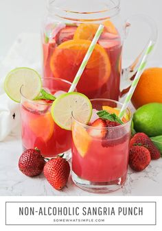 you're sitting by the pool or having friends over for a party this easy non-alcoholic sangria punch is the perfect drink to serve. Filled with slices of fresh fruit and a medley of juices this refreshing recipe will quench anyone's thirst. Non Alcoholic Sangria, Alcoholic Punch Recipes, Sangria Recipes, Drinks Alcohol Recipes, Drink Recipes, Non Alcoholic Drinks For Baby Shower, Non Alcoholic Beverages, Non Alcoholic Christmas Drinks, Alcoholic Desserts