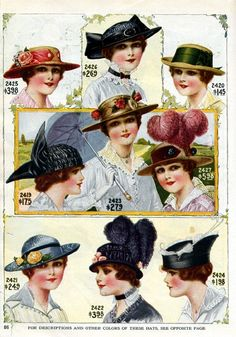 More great vintage hats. Historical Costume, Historical Clothing, Belle Epoque, Edwardian Fashion, Vintage Fashion, Edwardian Era, Spring Hats, Moda Vintage, Wearing A Hat