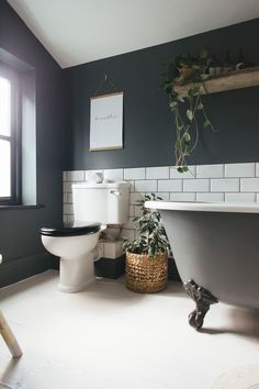 Bathroom Renovation Ideas: bathroom remodel cost, bathroom ideas for small bathrooms, small bathroom design ideas Dark Bathrooms, Amazing Bathrooms, Light Bathroom, Master Bathroom, Bathroom Small, Bathroom Yellow, 1950s Bathroom, Grey Bathroom Paint, Cosy Bathroom