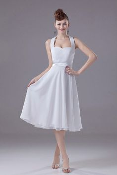Buy halter top backless chiffon tea length white prom dress for dama from short dama dresses collection, halter top neckline empire in white color,cheap chiffon dress with zipper back and for sweet 16 quinceanera wedding party . Inexpensive Bridesmaid Dresses, Bridesmaid Dresses Under 100, Tea Length Bridesmaid Dresses, Affordable Wedding Dresses, Cheap Wedding Dress, Wedding Party Dresses, Casual Wedding, Wedding Attire, Elegant Wedding