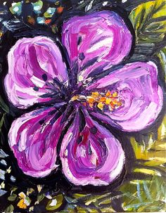 Pretty Hibiscus Oil Painting on Canvas by recycledwoodart on Etsy, $88.00