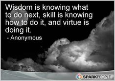 Wisdom is knowing what to do next, skill is knowing how to do it, and virtue is doing it.