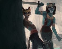 mary-yanko:  The eye of Ra: sisters Bastet and Sekhmet, who were sent by their father Ra to punish and destroy humanity.